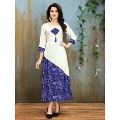 Buy Elevate White Abstract Print A line Kurti online in India at best price.Fabric: Rayon Cut/shape: A-line Hemlines: Rounded Pattern: A-line Neckline/collar: Round Sleeve: Churidar Designs, Kurta Designs Women, Blouse Designs, Kurti Patterns, Dress Patterns, Simple Kurti Designs, A Line Kurti, Fancy Kurti, Kurti Designs Party Wear