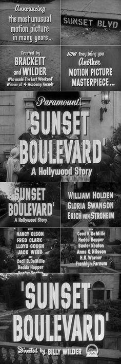 'Sunset Blvd.' (1950) trailer typography