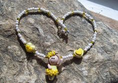 Handmade Girls Yellow Ballerina Polymer Clay Bead Necklace