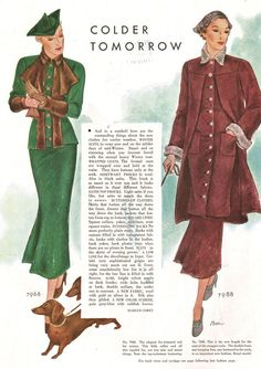 """1934 Winter Suits...""""Smart and so renewing when you become bored with the eternal heavy Winter coat""""."""