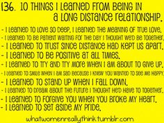And I learnt that distance doesn't ruin relationships, doubts do...