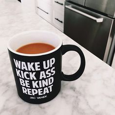 They're baaaaaaack. The wake up mugs are restocked on JACVANEK.COM! Tag a friend who needs one and go get your shop on. : @sarahurie ☕️✌️