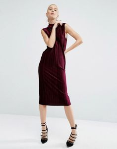 Buy it now. ASOS Pleated Velvet High Neck Column Dress - Purple. Dress by ASOS Collection, Soft-touch velvet, High neckline, Pleated fabric, Sleeveless cut, Regular fit - true to size, Machine wash, 93% Polyester, 7% Elastane, Our model wears a UK 8/EU 36/US 4 and is 178 cm/5'10� tall. ABOUT ASOS COLLECTION Score a wardrobe win no matter the dress code with our ASOS Collection own-label collection. From polished prom to the after party, our London-based design team scour the globe to nail…