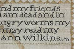 "Ann Wilkins 1799 Sampler Silk Thread On Linen 15.5"" x 19"" Acorns Flowers ABCs"