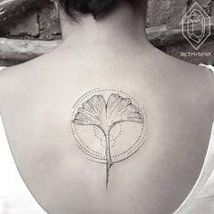 Geometric Ginkgo Leaf Tattoo by Bicem Sinik