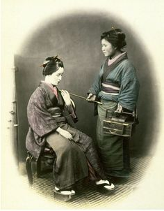 YOUNG LADY, WITH PIPE. FOR the use, cultivation, and name of tobacco, the Japanese are indebted to the Portuguese. Its consumption is universal, both by men and women; the quantity used in their tiny pipes is very small, a single whiff only —which is inhaled, swallowed, and allowed to escape through the nostrils—being taken at one time........PARTAGE OF JAPAN SPECIALIST.......ON FACEBOOK..........
