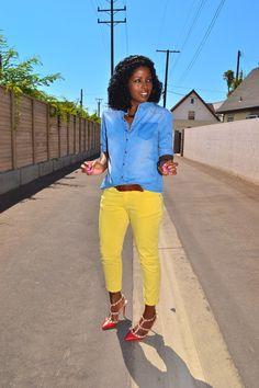 Boyfriend Denim Shirt + Yellow Cropped Jeans