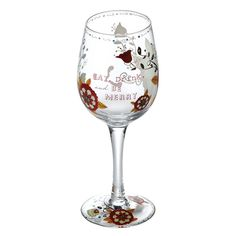 Wine Glasses - Drink & Be Merry Wine Glass: Glassware Gifts A26537…