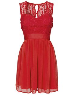Lace Top Chiffon Dress - Elise Ryan - Red - Party Dresses - Clothing - Women - Nelly.com Uk