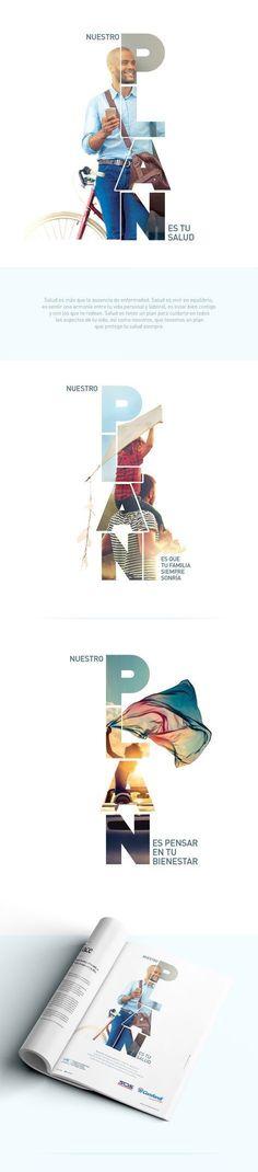 Nuestro Plan es tu Salud on Behance Design // Typography Layout Design, Graphisches Design, Logo Design, Poster Design, Graphic Design Posters, Graphic Design Inspiration, Fashion Inspiration, Conception Web, Pub Vintage
