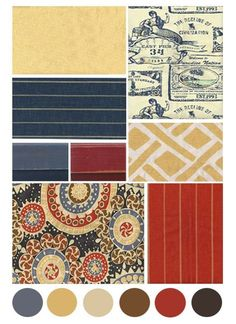 dining room, foyer and upstairs hall Color Board: Red, Navy & Gold. these colors in fabric on a board by hutch would look great. Classic navy pairs beautifully with rich reds and golds in this cottage style color palette. Check out all our color boards! Living Room Red, Living Room Colors, Living Room Decor, Dining Room, Bedroom Colors, Dining Area, Dining Tables, Bedroom Ideas, Navy Gold
