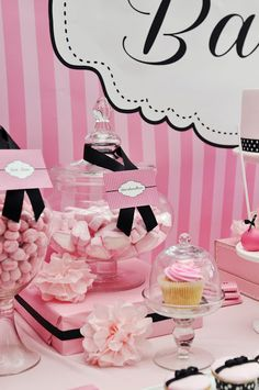 Pink and black baby shower