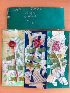 P4 2014-2015. PUNT DE LLIBRE. Collage amb paper de diari o fulles de llibre. Rosa amb filferro enganxada amb washi tape verd.