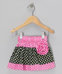 Take a look at this Pink & Black Polka Dot Corsage Skirt - Toddler & Girls on zulily today!