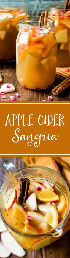 Irresistible white wine sangria filled with fall's best flavors like apple, cider, citrus, cinnamon, and pear. Fall Sangria, Apple Cider Sangria, Fun Drinks, Yummy Drinks, Yummy Food, Party Drinks, Alcoholic Beverages, Yummy Yummy, Apple Recipes