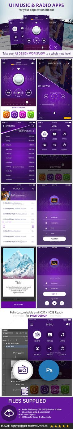 Music & Radio Apps User Interface Template PSD #design #ui Download: http://graphicriver.net/item/ui-music-radio-apps/10444489?ref=ksioks
