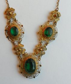 Austro-Hungarian Gold Filigree 800 Silver Necklace w/ Green Paste