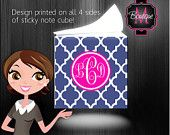 Sticky Note Cube, Personalized and Monogrammed Custom Stationary, Great Teacher Gift