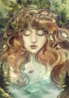 Illustration for a story called 'simply Jane'. Made by strijkdesign (Sylvia strijk) Portrait Illustration, Watercolor Illustration, Fantasy Forest, Fantasy Art, May Arts, Fantasy Portraits, Goddess Art, Watercolor Design, Watercolour