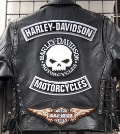 leather jacket harley davidson patches