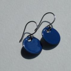 Olympian Blue Enameled Earrings by DrinkingforArt on Etsy, $25.00