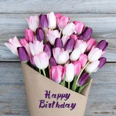 This stunning Bouq is filled with soft pink and purple tulips for a subtly bold look. Happy Birthday Wishes Cards, Happy Anniversary Wishes, Happy Birthday Flower, Happy Birthday Fun, Happy Birthday Quotes, Happy Birthday Images, Birthday Pictures, Tulip Bouquet, Happy B Day