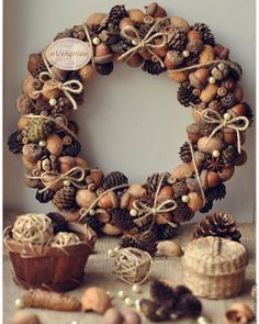 21 Unexpected Wreath DIY Ideas This pine cone and acorn wreath is perfect for your door this holiday season, on Vekoria.This pine cone and acorn wreath is perfect for your door this holiday season, on Vekoria. Diy Fall Wreath, Christmas Wreaths To Make, Fall Wreaths, How To Make Wreaths, Door Wreaths, Christmas Crafts, Christmas Decorations, Wreath Ideas, Christmas Candy