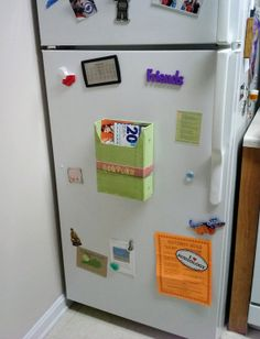 Coupon Holder for the Fridge - Magnetic Menu Holder - Green and Pink with Dragonfly Accent