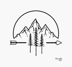 Mini Drawings, Cute Easy Drawings, Art Drawings Sketches Simple, Body Art Tattoos, Small Tattoos, Tattoos For Guys, Tatoos, Mountain Drawing, Mountain Tattoo