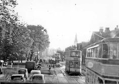 This is Hunters Bar   Ecclesall road   There were always loads of trams  Happy Days