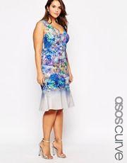 ASOS CURVE Premium Floral Peplum Hem Dress