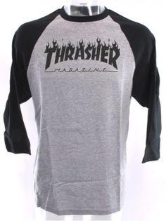Thrasher-Flame-Raglan-T-Shirt-Grey-Black