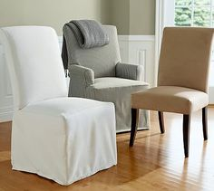 PB Comfort Roll Chair Slipcovers #potterybarn