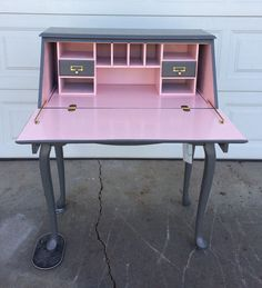 PORTFOLIO Secretary Desk - Slate and Pink Painted Curved Leg Table