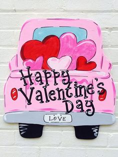 Vintage Truck Valentine's Day Personalized Hand Painted Hand Lettered Wooden Sign Door Hanger – Valentine Day Valentines Bricolage, My Funny Valentine, Valentines Day Decorations, Valentine Day Crafts, Love Valentines, Happy Valentines Day Images, Desserts Valentinstag, Pink Truck, Decorated Cookies