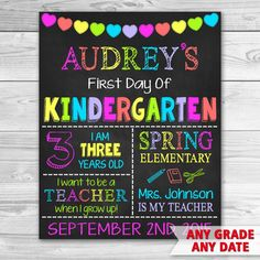 First Day of Preschool Sign.  First Day of School.  Graduation Chalkboard Sign Printable.
