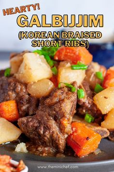 This galbijjim (Korean braised beef short ribs) is so tender that it melts in your mouth and explodes with flavor. If you've never had this popular Korean dish, you have to try it! #korean #braised #shortribs #beef #easyrecipe