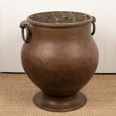 Decorated Cooking Urn Very Large South Indian Hand Hammered Solid Copper Cooking Pot