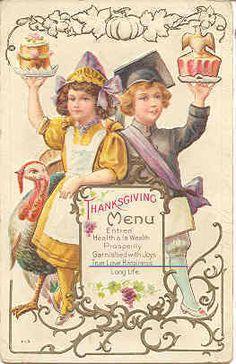 """"""" The Menu """" Vintage Thanksgiving Post Card. Karodens Vintage Post Cards."""