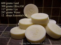 Recipe for Lard and Olive Oil Soap