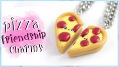 Fimo Kawaii, Polymer Clay Kawaii, Kawaii Diy, Polymer Clay Charms, Diy Clay, Clay Crafts, Diy Necklace Display Stand, Cute Pizza, Biscuit
