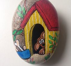 Dog in doghouse painted rock