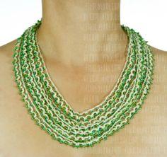 Fibula Takı - Ninemin Boncukları Serisi / Kolye - boncuk - yeşil, beyaz