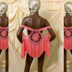 """Очень популярная модель жилета с бахромой. Простой """"хиповый"""" рисунок делает этот жилет универсальным. Можно носить даже с джинсами и кедами, накинув жилет на любую майку.  Можно использовать в качестве пляжной одежды. Цвет - коралловый. #crochet #olgalace #designer #dress #vest #crochetvest #жилет #жилетка #жилетсбахромой #бахрома #бохо #бохостиль #вязаныйжилет #fashion #style #boho #bohochic #andibagus"""