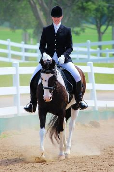 Dressage My daughter Amanda on her Half-Arabian Pinto horse, Ritzy ❤