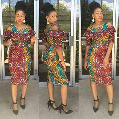 @bernandoll -  Ready, Set, Go! #bernan mixed print shoulder out midi dress!!! #ankarastyles
