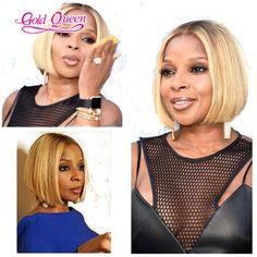 Fashion celebrity blonde wigs short honey blonde brazilian hair lace front bob…