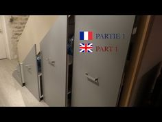 Installer un placard coulissant sous escalier - PART 1- Install a sliding storage under stairs - YouTube