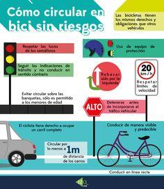 Cómo circular en bici sin riesgos,  Te damos algunas recomendaciones para circular en tu bicicleta con mayor seguridad #Infografia #Bicicletas #Bike #seguridad