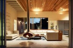 Extravagant Beach House Accommodating Refined Modern Style: Fancy Hanging Metal Fireplace Design At The Seadrift Residence Living Room Separ. Design Living Room, Living Room Modern, Living Spaces, Living Rooms, Cozy Living, Living Area, Floating Fireplace, Suspended Fireplace, Hanging Fireplace